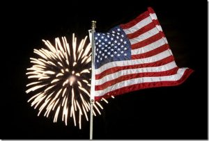 American Flag and Fireworks. US Boatworks