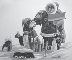 Man in snow with outboard motor