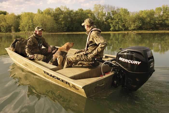 Duck Boat Mercury Outboard 25 on water